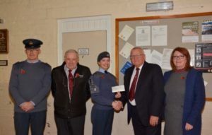 Cadet Warrant Officer Rachel McCullagh receiving the £250 Cheque from W.Bro. Mike Pugh